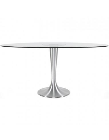 table a manger ovale en verre